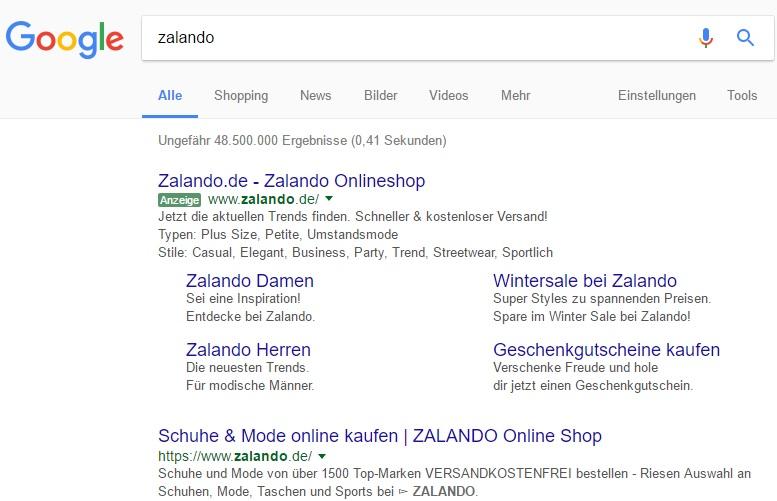 Mögliche Anzeigenoptimierung Zalando