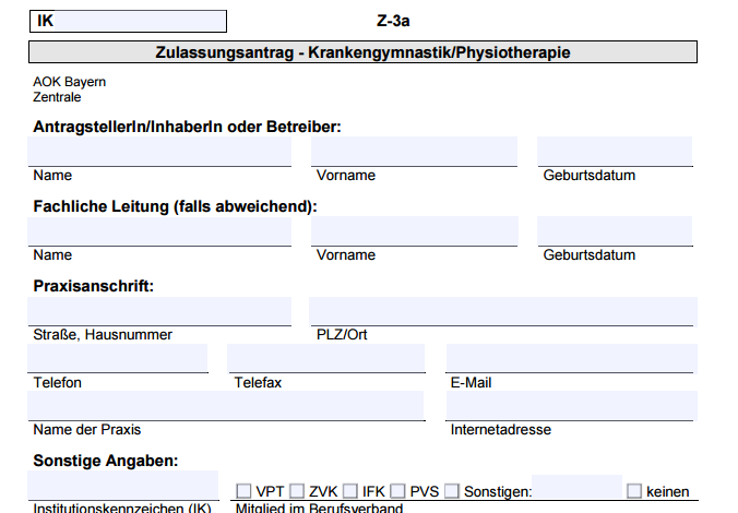 Screenshot Beantragung AOK-Zulassung