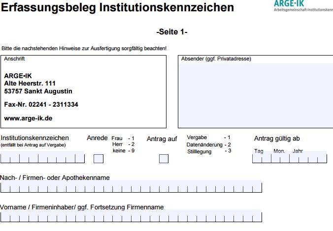 Screenshot Beantragung IK-Nummer