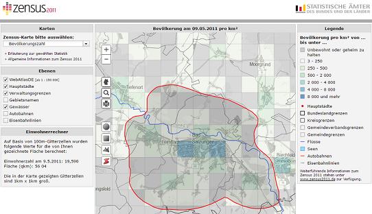 Screenshot Zensus 2011-Einwohnerrechner für Standortanalyse