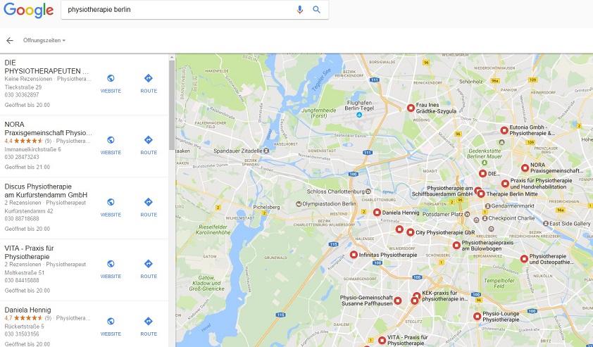 Suchergebnis Google Maps Physiotherapie Berlin